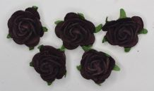 2.5cm TYRIAN PURPLE Mulberry Paper Roses (only flower head)